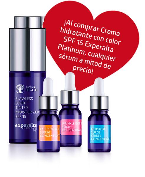 ¡Al comprar Crema hidratante con color SPF 15 Experalta Platinum, cualquier sérum a mitad de precio!