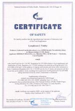 Certificate Doplněk stravy - Lymphosan L Vitality, 90 g