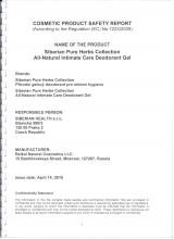 Cocmetic product safety report Siberian Pure Herbs Collection. Přírodní gelový deodorant pro intimní hygienu (Rosa), 150 ml