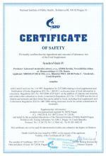 Certificate of safety (en)<br>Synchrovitals IV Doplněk stravy - SynchroVitals IV, 60 kapslí